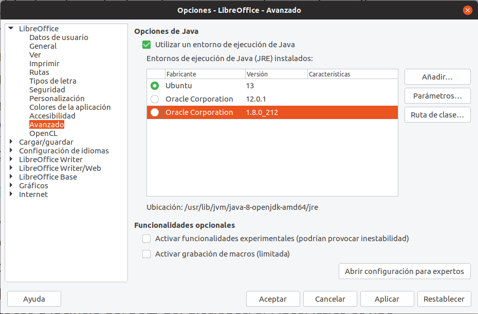 Java en LibreOffice